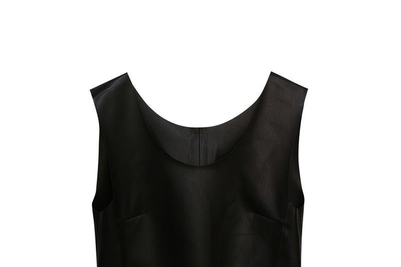 VEGAN LEATHER SLEEVELESS TOP