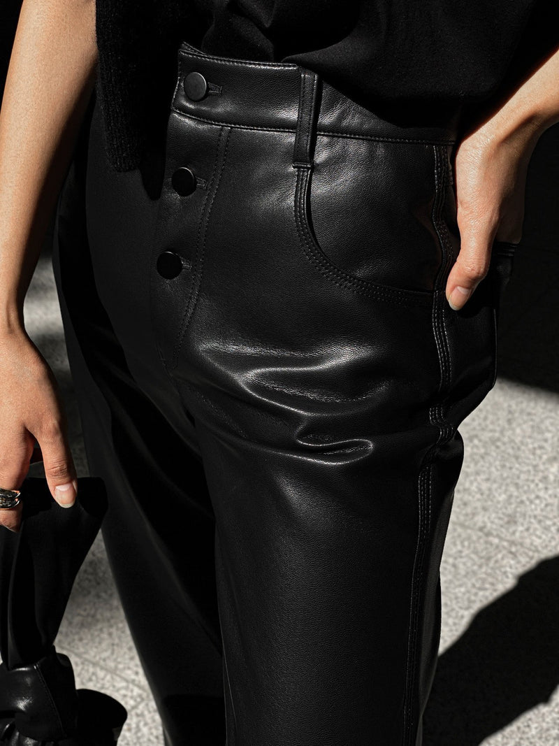 VEGAN LEATHER STITCHED PANTS