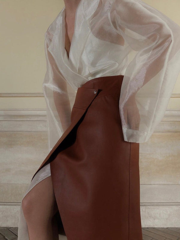 VEGAN LEATHER CUT-OUT WRAP SKIRT