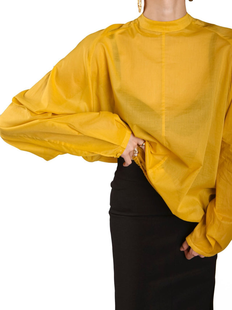 SHEER LINEN BALLOON SLEEVE BLOUSE