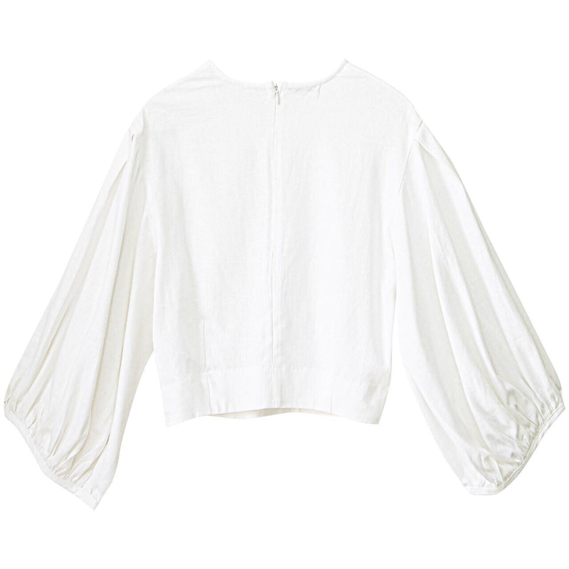 LINEN BALLOON SLEEVE CROPPED BLOUSE