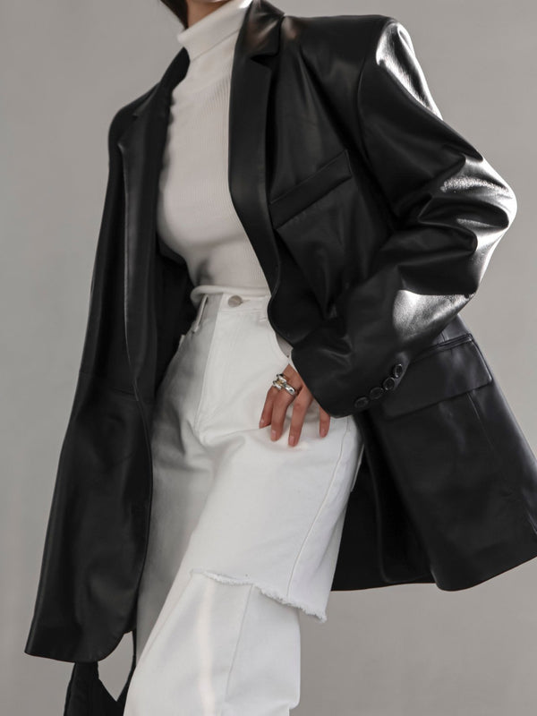 LUXE OVERSIZED UNBALANCED LEATHER BLAZER