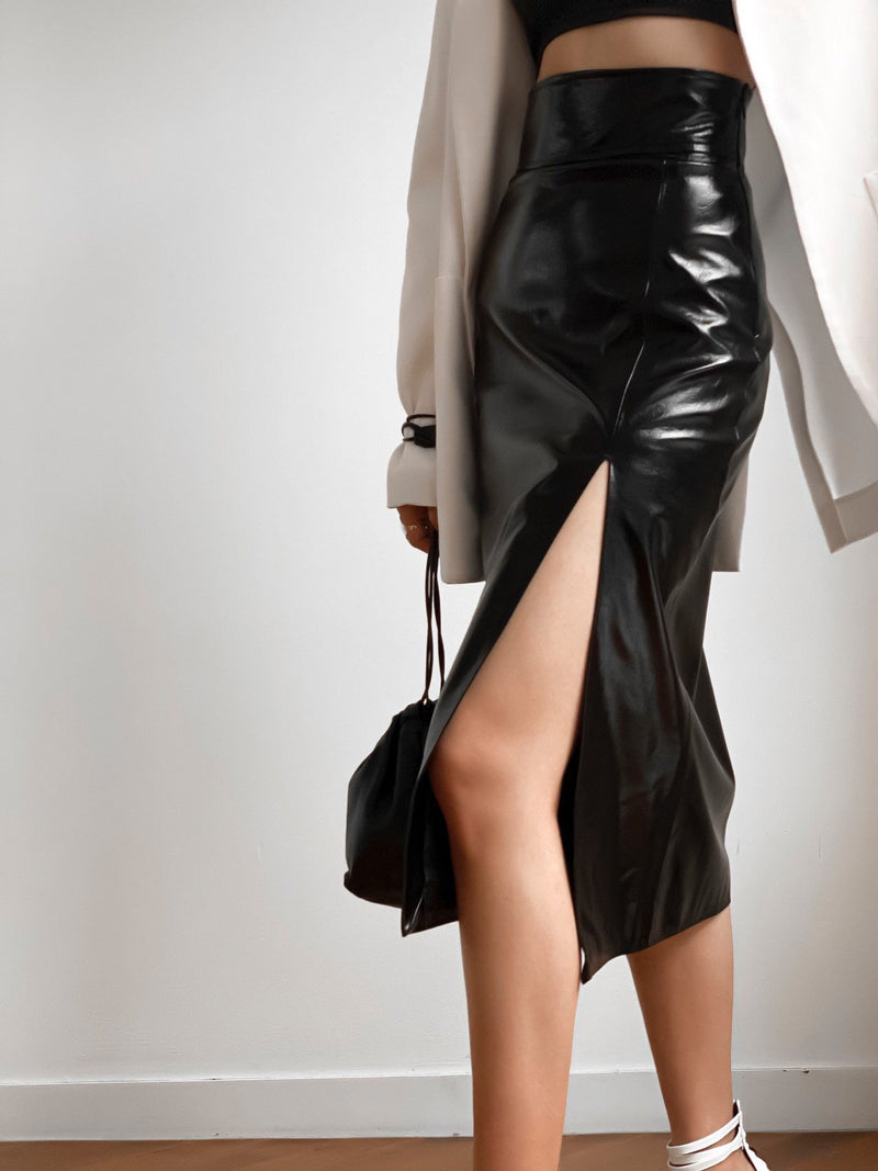 METALLIC VEGAN LEATHER PENCIL SKIRT