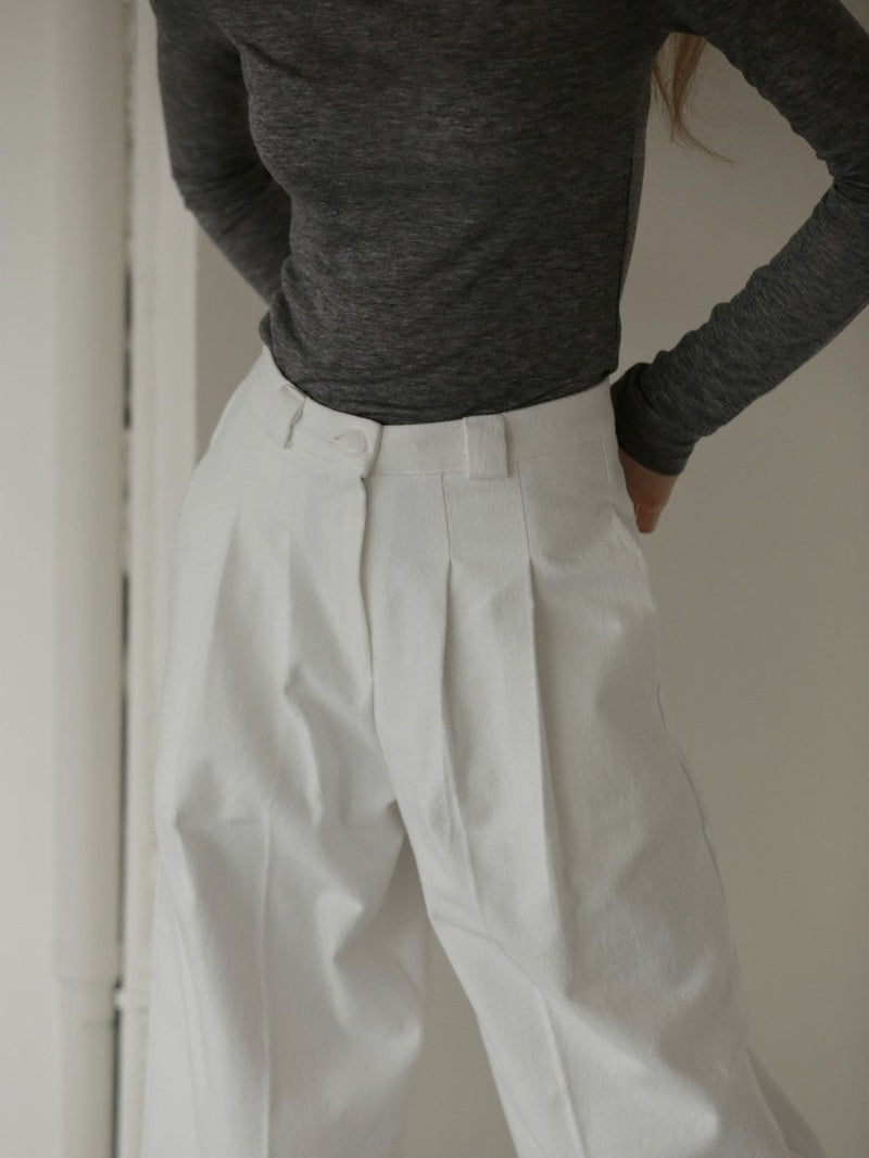 PIN TUCK COTTON TROUSERS