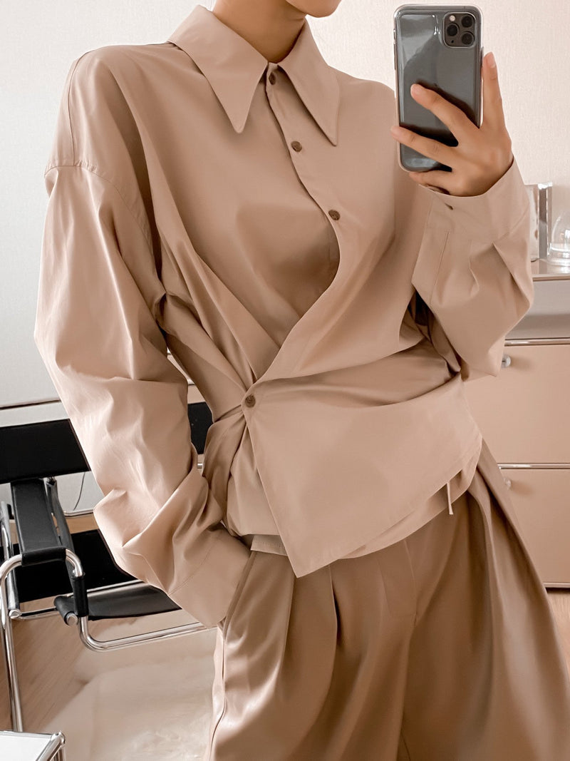 POINTED COLLAR COTTON WRAP SHIRT