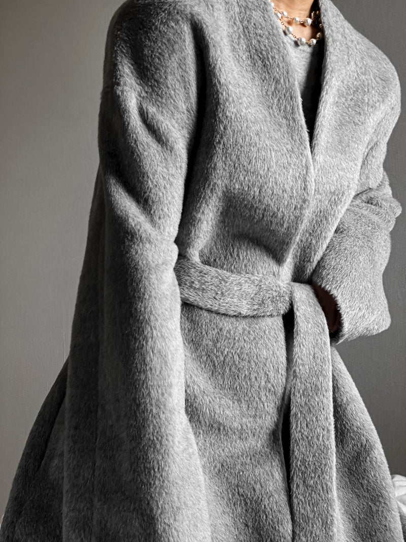 LUXE ALPACA COLLARLESS ROBE COAT