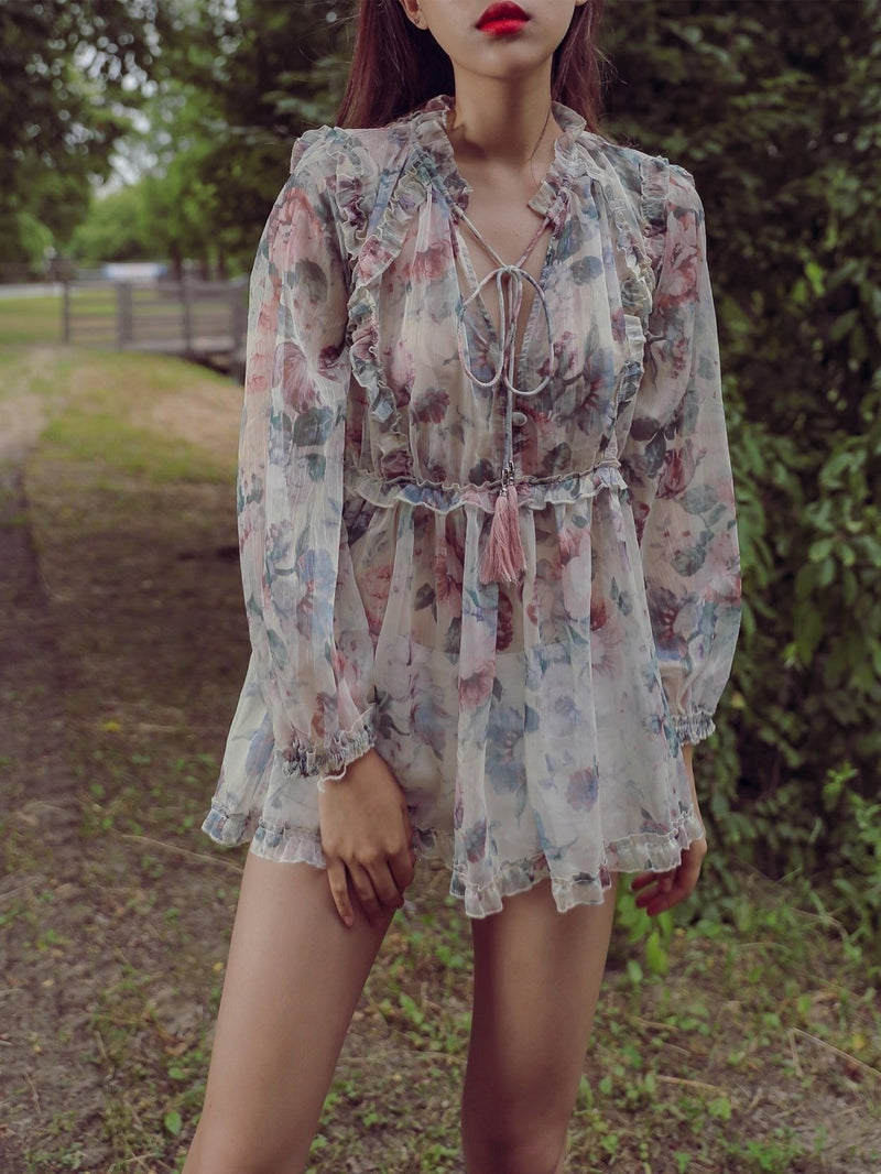 LONG SLEEVE RUFFLE FLORAL BLOUSE