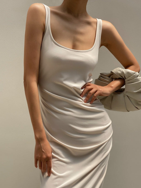 SIDE-SHIRRED SLEEVELESS SLIM DRESS