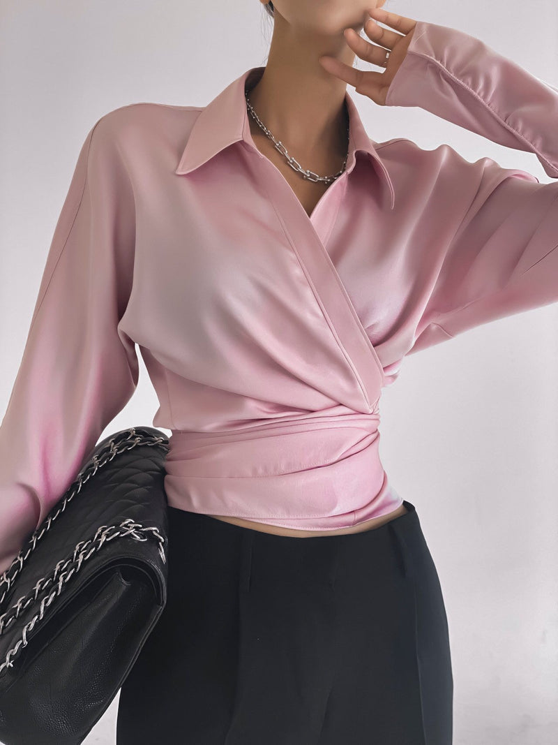 SILKY LONG SLEEVE WRAP BLOUSE