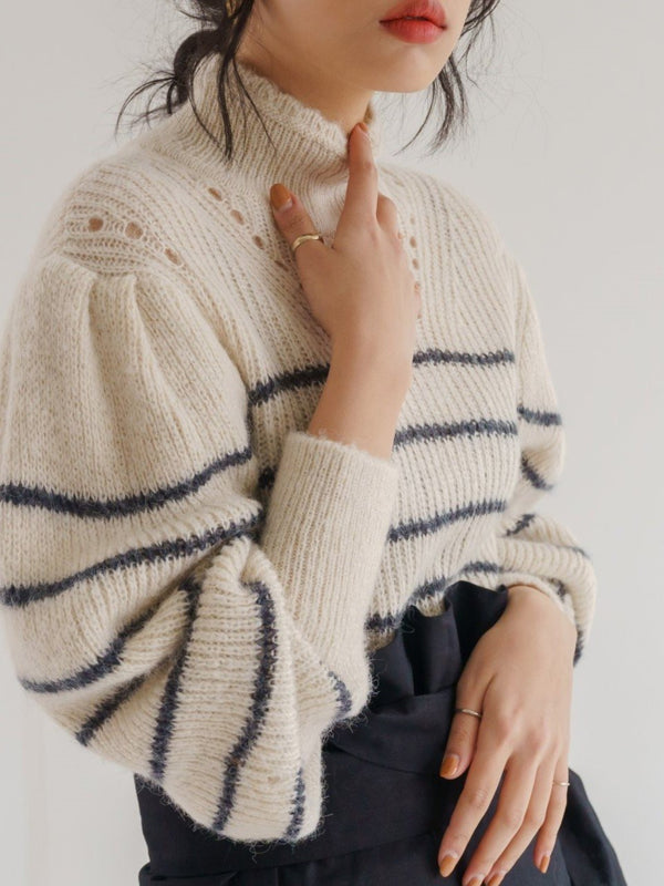 STRIPED ALPACA TURTLENECK KNIT