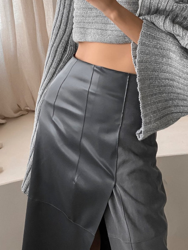 VEGAN LEATHER & SUEDE PENCIL SKIRT