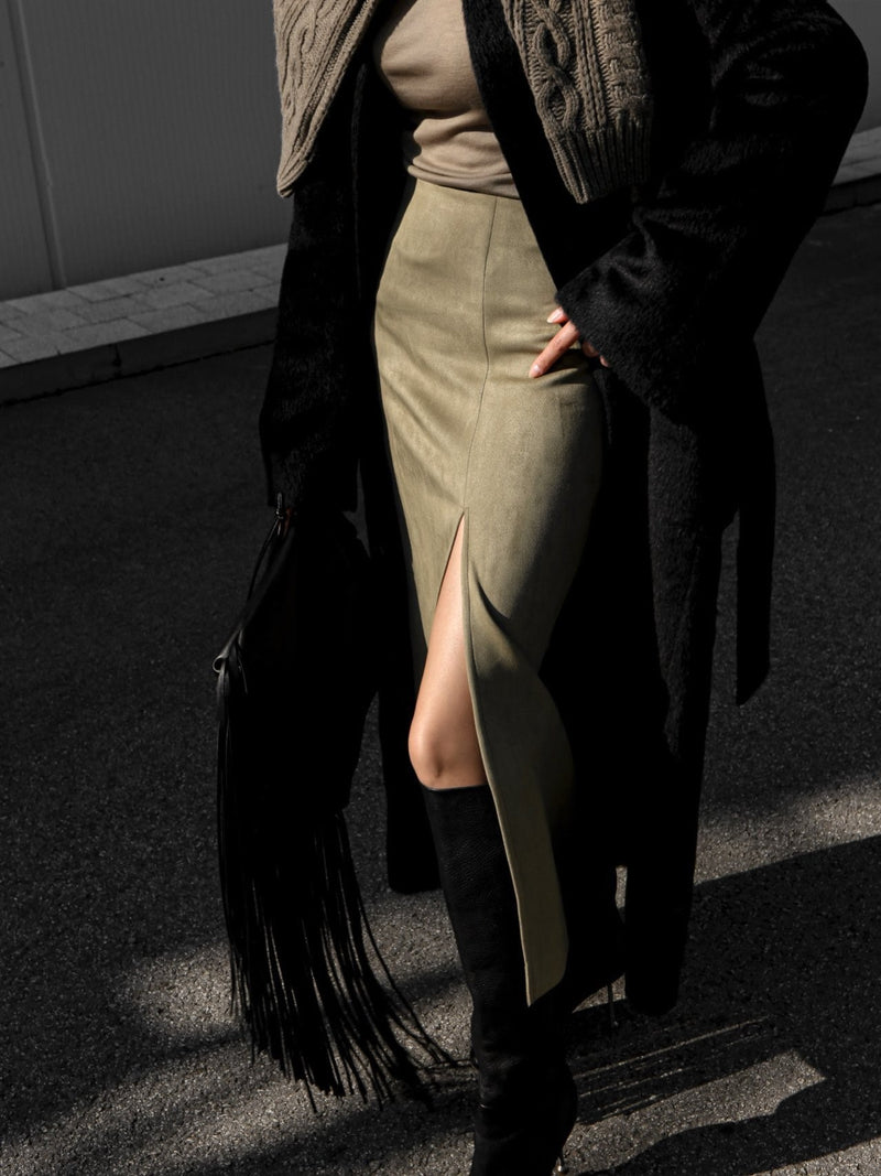 SUEDE MAXI PENCIL SKIRT