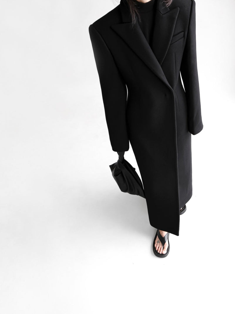 LUXE WOOL TAILORED MAXI COAT