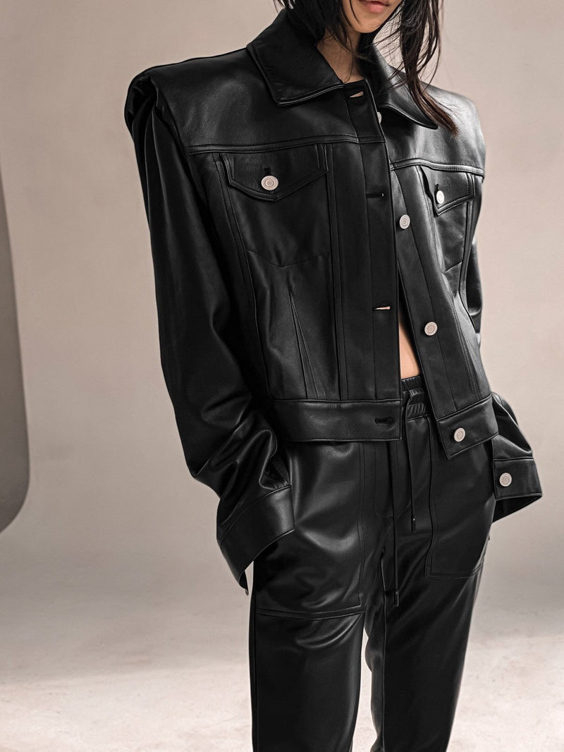 LUXE LEATHER TRUCKER JACKET