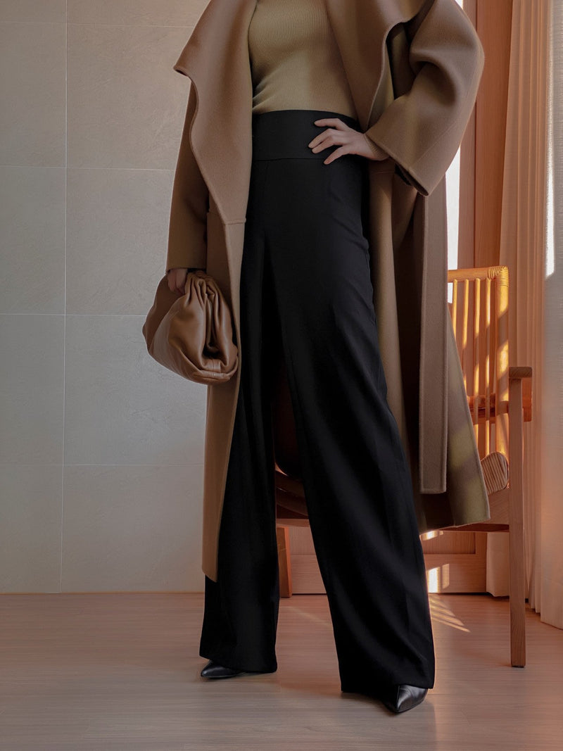 HIGH RISE TWILL TROUSERS