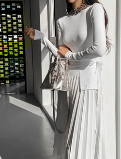 UNBALANCED DRAPED LONG SLEEVE BLOUSE