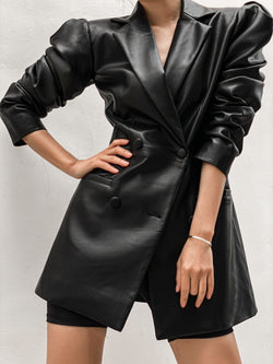 SLIM FIT VEGAN LEATHER BLAZER