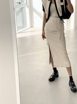 BUTTON DETAIL BELTED VEGAN LEATHER SKIRT