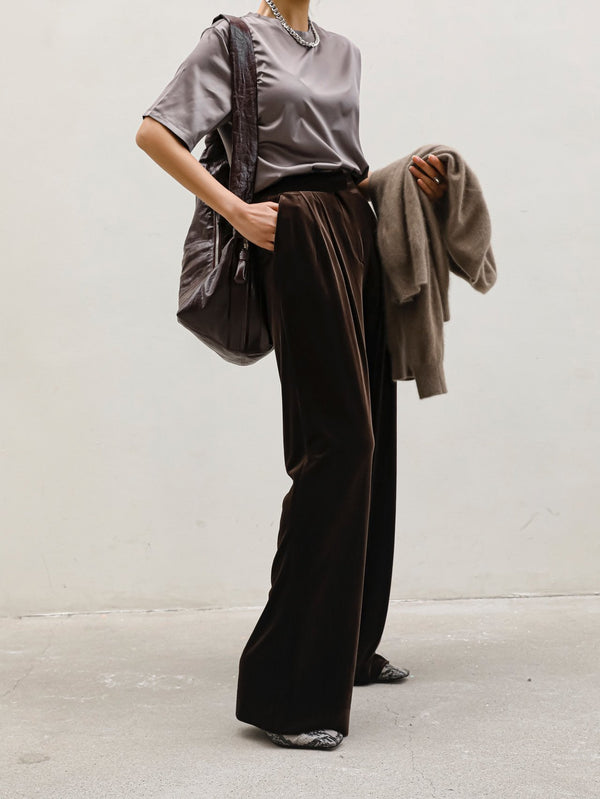 VELVET PIN TUCK TROUSERS