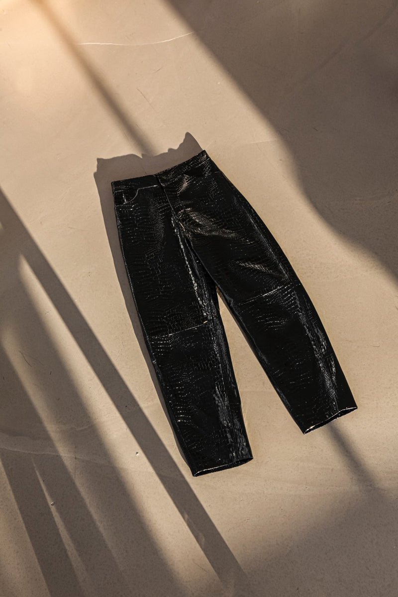 CROC LEATHER VOLUME TROUSERS