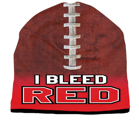 Beanie I Bleed Style Sublimated Football Red Design