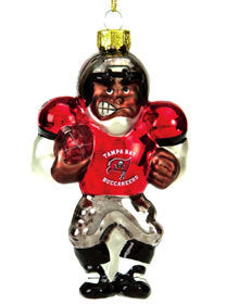 Tampa Bay Buccaneers Ornament Blown Glass Football Player