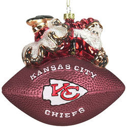 Kansas City Chiefs Ornament 5 1/2 Inch Peggy Abrams Glass Football