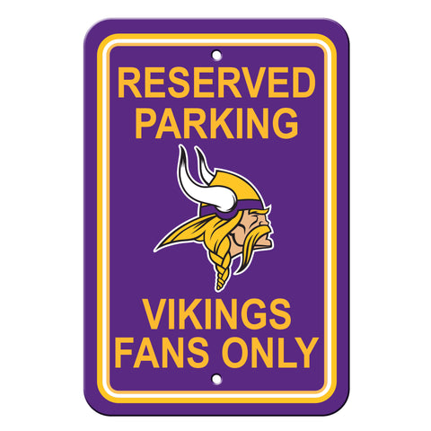 Minnesota Vikings Sign - Plastic - Reserved Parking - 12 in x 18 in