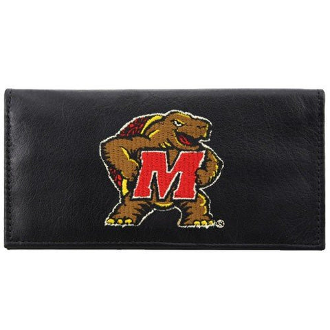 Maryland Terrapins Checkbook Cover Embroidered Leather