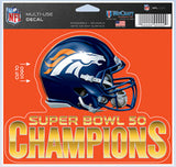 Denver Broncos 5x6 Color Ultra Decal Super Bowl 50 Champion