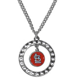 St. Louis Cardinals Necklace Chain Rhinestone Hoop