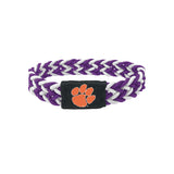 Clemson Tigers Bracelet Braided Purple and White