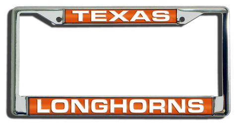 Texas Longhorns License Plate Frame Laser Cut Chrome