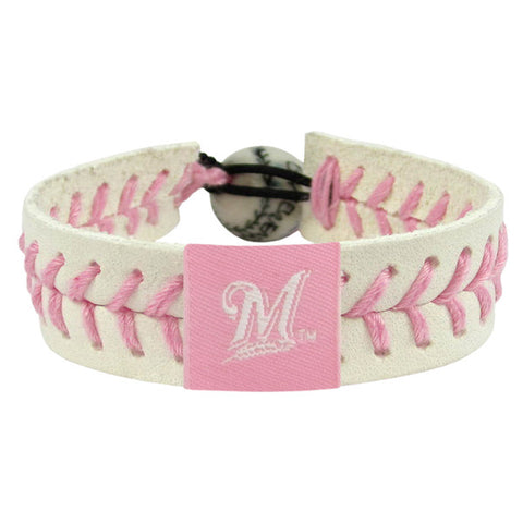 Milwaukee Brewers Bracelet Baseball Pink