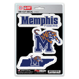 Memphis Tigers Decal Die Cut Team 3 Pack