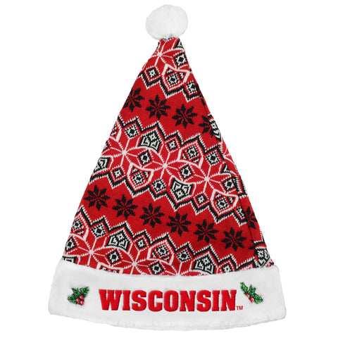 Wisconsin Badgers Knit Santa Hat - 2015