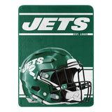 New York Jets Blanket 46x60 Micro Raschel Run Design Rolled