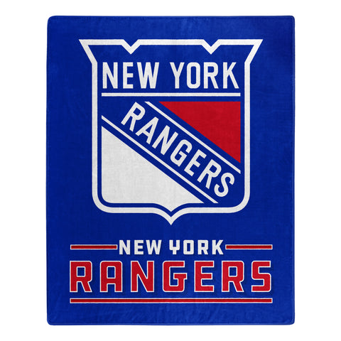 New York Rangers Blanket 50x60 Raschel Interference Design