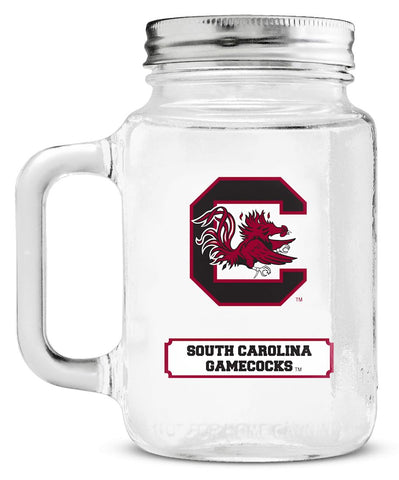 South Carolina Gamecocks Mason Jar Glass With Lid