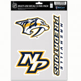 Nashville Predators Decal Multi Use Fan 3 Pack