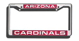 Arizona Cardinals License Plate Frame Laser Cut Chrome