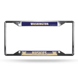 Washington Huskies License Plate Frame Chrome EZ View - Special Order