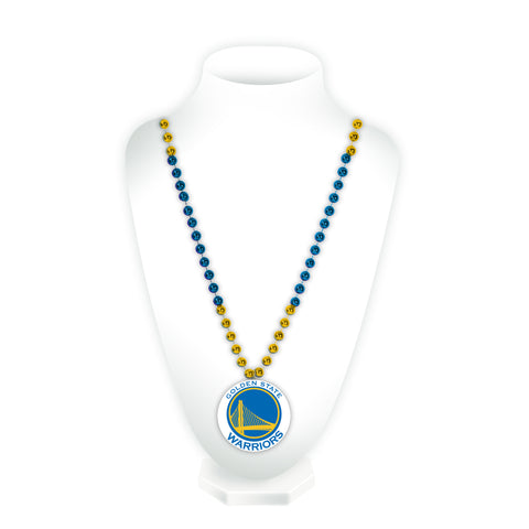 Golden State Warriors Beads with Medallion Mardi Gras Style Special Order