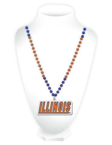 Illinois Fighting Illini Beads with Medallion Mardi Gras Style