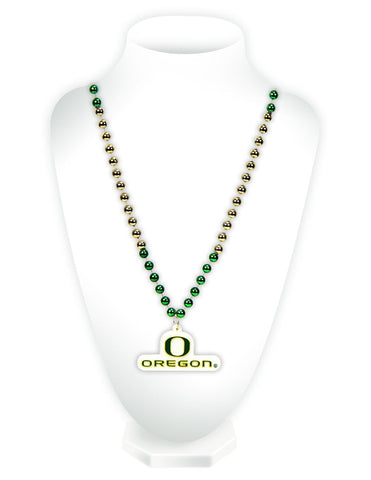Oregon Ducks Beads with Medallion Mardi Gras Style