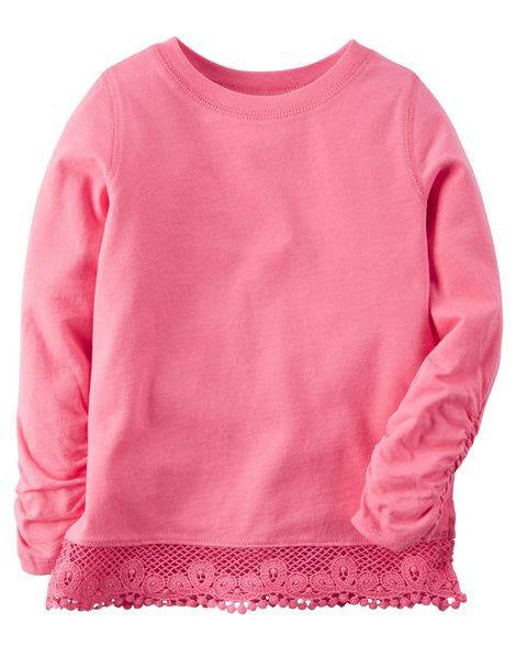 Carter's Long-Sleeve Embroidered Lace Tee - Pink