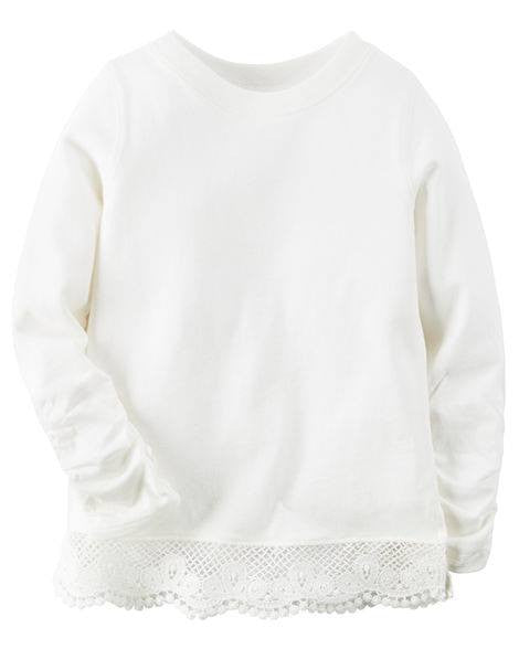 Carter's Long-Sleeve Embroidered Lace Tee - White