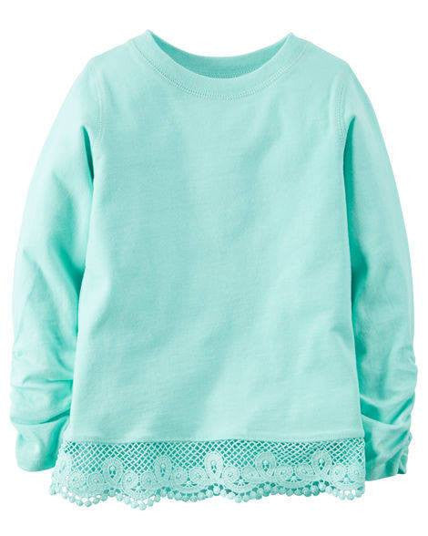 Carter's Long-Sleeve Embroidered Lace Tee - MInt