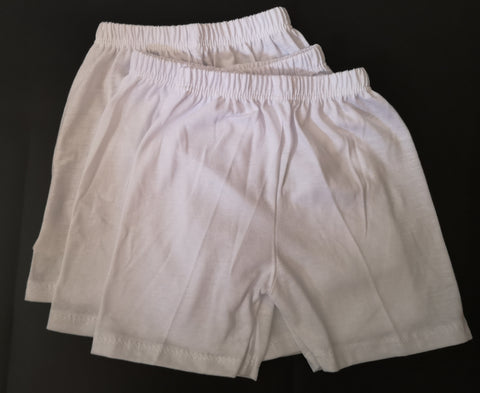 Plain White Shorts for Newborn - 3 pcs