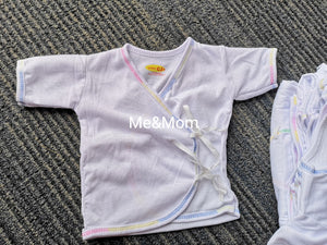 Newborn Short Sleeves white with colored stitch